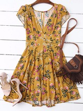 ZAFUL Floral Plunging Neck Cut Out Dress - Yellow Women Summer V Neck A Line Cotton Bohemian Mini Dress Short Sleeves Dresses