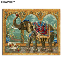 DRAWJOY New Framed Picture Painting By Numbers DIY Oil Painting On Canvas Home Decor Wall Art Abstract Elephant GX4649 40*50cm(China)