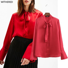 Freeshipping blusas blouse kimono The European and American wind couture fashion pure color imitation silk ribbon shirt