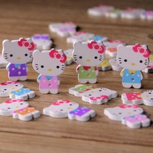 10pcs Kitty Cat Wooden Buttons for Clothing 2 Holes Assorted Color Scrapbooking Buttons Sewing Craft DIY Garment Accessories