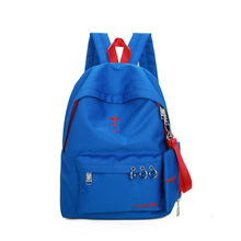 2pcs/lot High Quality Canvas Shoulders Bag Fashion Iron Ring Design Girl's School Backpack Casual Women's Shopping Backpacks