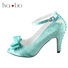 CHS418 DHL Express Custom Made High Heels Bow Ankle Strap Peep Toe Mint Green Lace Women Shoes Dress Pumps Bridal Wedding Shoes