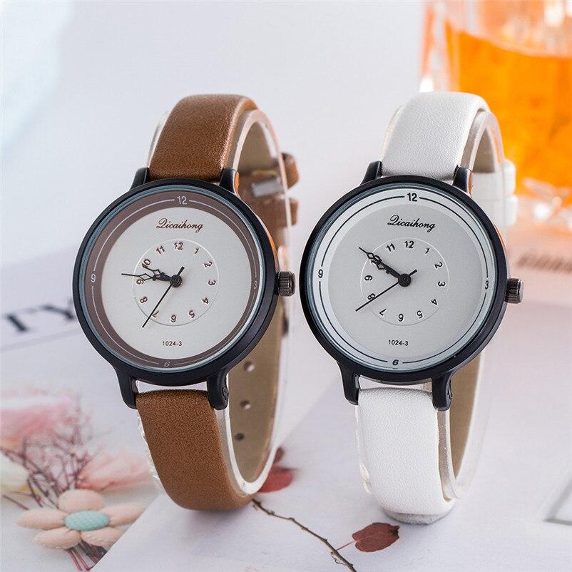 2018 High Quality women fashion casual watch luxury dress ladies Leather Band Analog Quartz Wrist Watch Clock relogio J13#N (10)