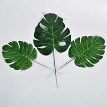 10Pcs Artificial Monstera palm Leaves green plants wedding DIY decoration cheap fake Flowers arrangement plant leaf