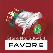 Stainless steel 22mm IP65 5A/250VAC dot illuminated 1NO 1NC Latching LED metal Push Button light Switch Flat round