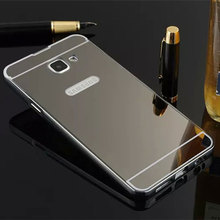 For Hoesje Samsung A3 2016 Case Aluminum Metal Bumper Frame Acrylic Back Cover For Samsung Galaxy A3 2016 Mirror Case A310 Capas