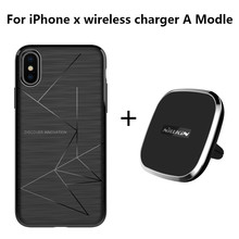 For iPhone X Luxury NILLKIN Car Magnetic Wireless Charger Pad & Magnetic wireless charger receiver cover Portable Charger pad(China)