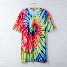 2016 Summer Mens Short Sleeve Cotton T Shirts 3D Multicolors Spiral Tie-dye Gradient/Tupac/Maple Leaf/Dollars Printed T Shirt