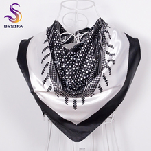 [BYSIFA] Black White Dot Square Scarves Printed For Ladies 90*90cm Fashion Men Women Silk Scarf Imitated For Spring Autumn