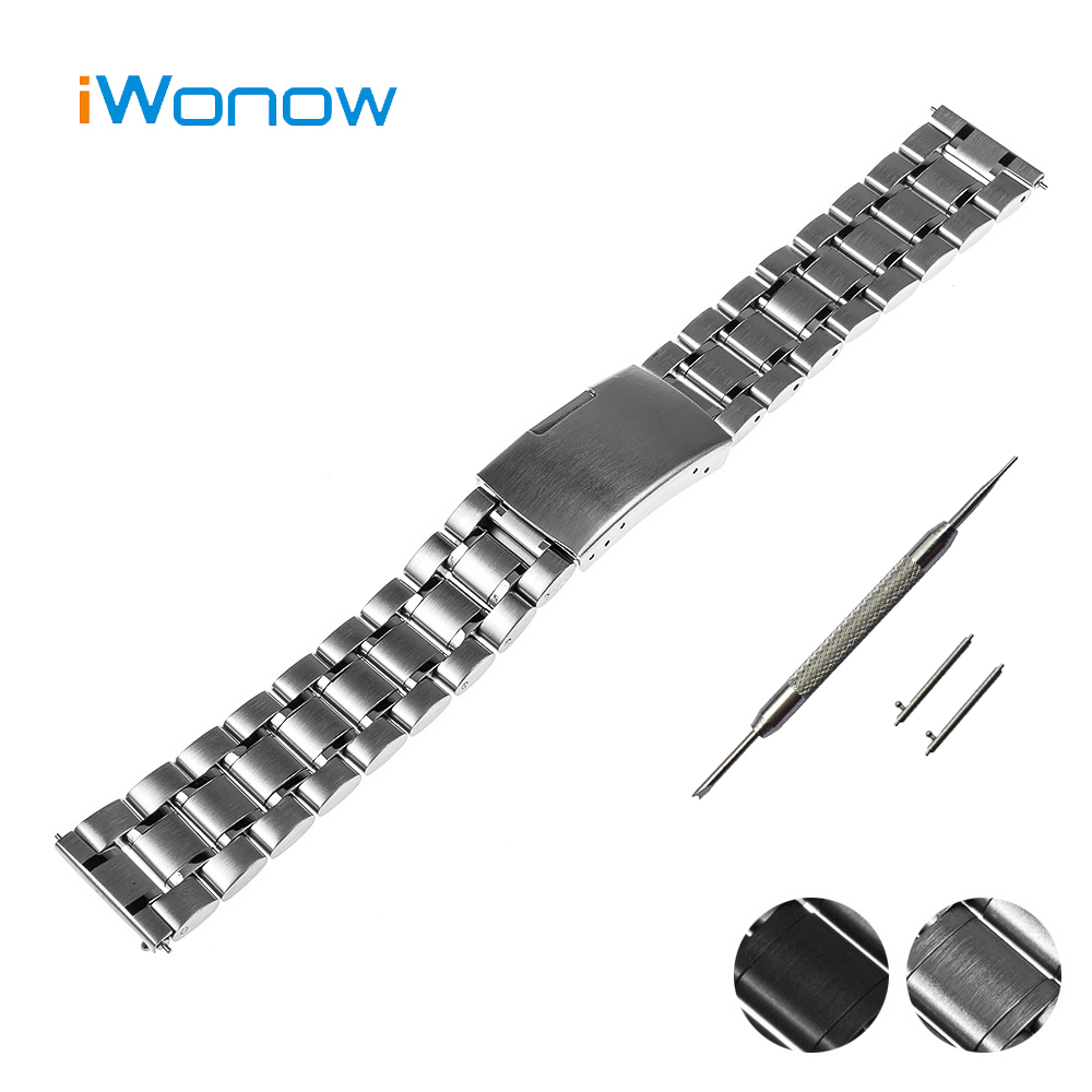 Stainless Steel Watch Band 18mm 20mm 22mm for Rolex Quick Release Strap Press Buckle Wrist Belt Bracelet Black Silver + Tool<br><br>Aliexpress