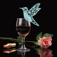 50PCS Creative Bird Paper Card Wine Glass Cup Flower Place Cards Wedding Souveris casamento marriage Party Decoration Paperboard
