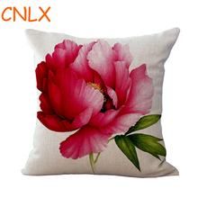 Free Shipping wholesale Rose Flower pattern Cotton throw pillow Sofa Office Car Backrest Cushion 45*45 Cm Hot Gift