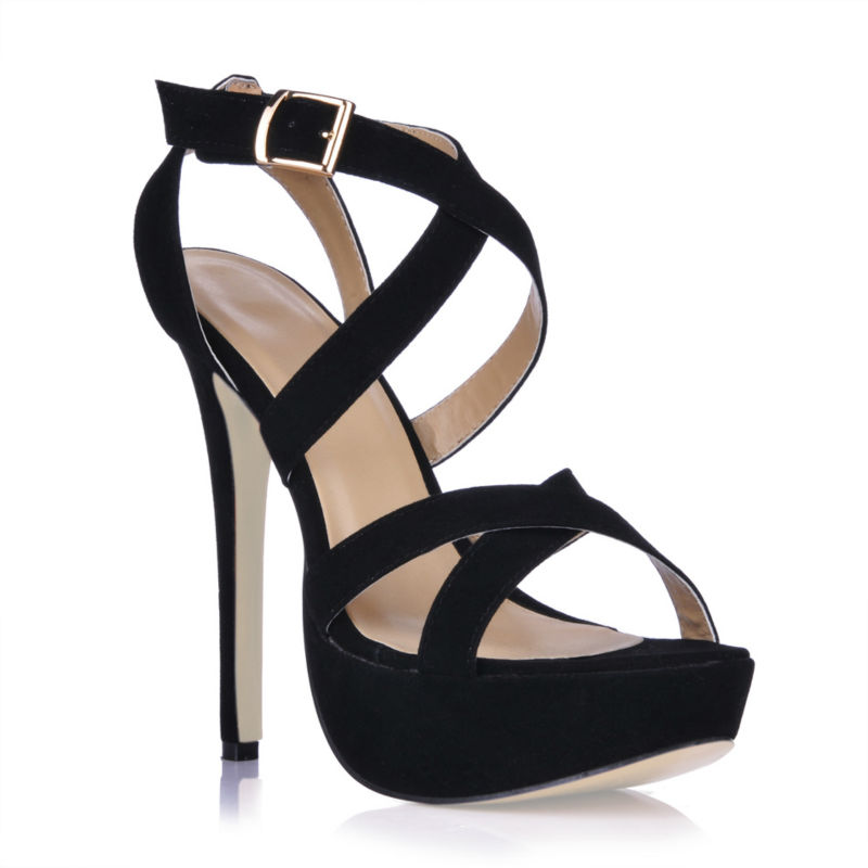 2016 New Black Suede Sexy Party Shoes Women Stiletto High Heels Buckle Strap Platform Rome Ladies Sandal Zapatos Mujer 3463SL-a1<br><br>Aliexpress