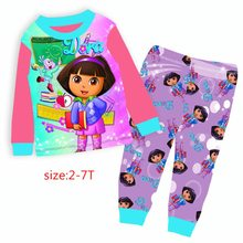 Wholesale 2017 Girls Purple Dora Pijamas Kids Cartoon Clothes Children Summer Clothing Sets For 2-7Y 9023