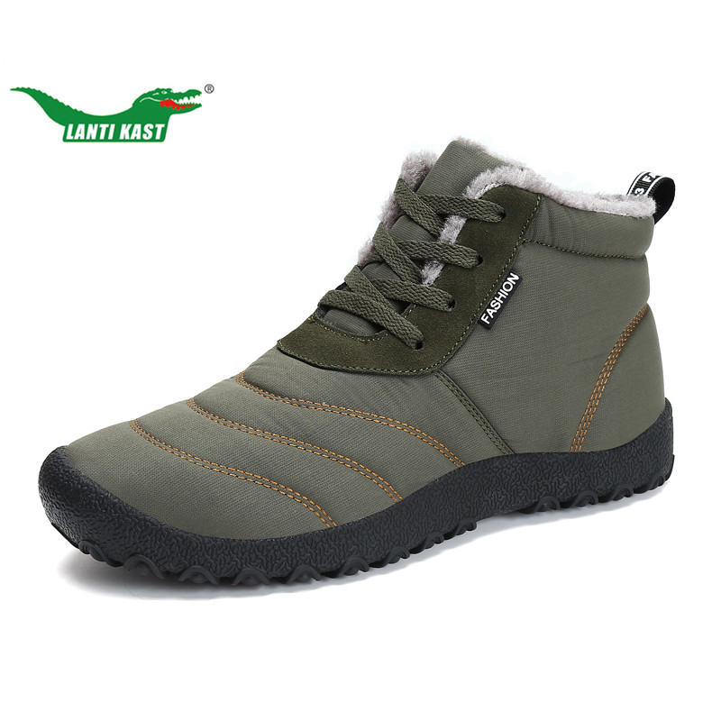 LANTI KAST Winter Men Hiking Shoes Waterproof Thermal Cotton Fur Sneakers for Men Non-slip Durable Trekking Shoe Men Size36-46<br>