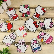 4pcs/lot Children's Favourite Pink Cartoon Iron-on Sew-on Hello Kitty Embroidered Cloth Patches For Girls