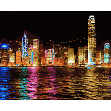 40x50 Hong Kong night mass effect wall Oil Painting Coloring By Numbers on Canvas art home decor Modular poster pictures DY431