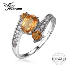 JewelryPalace 925 Sterling Silver 0.9ct Natural Citrine 3 Stone Anniversary Ring FIne Jewelry for Women Statement Ring New Brand