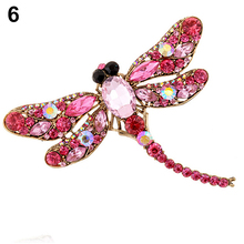 Women's Fashion Dragonfly Crystal Brooch Lovely Rhinestone Scarf Pin Jewelry 9TR9