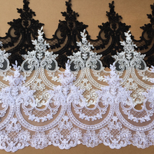 3Yards/lot 26cm European Embroidery Lace Trim  Wedding Veil  Handmade DIY Materials Curtain Fabric Decorative Accessories RS825