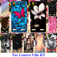 AKABEILA Soft TPU &Hard PC Phone Cases for Lenovo Vibe K5 K5 Plus Lemon 3 A6020 Covers Bags Rose Flower Butterfly Skin Shell
