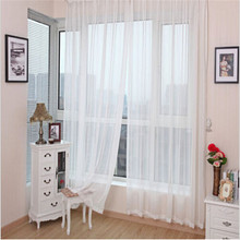 2*1m Tulle Curtains Door Window Panel Curtain Pure Color Chiffon Curtain Home Window Wedding Decoration for Bedroom