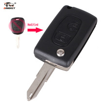 DANDKEY Modified Folding Flip Remote Key Shell 2 Buttons For Peugeot 106 206 306 406 Citroen C2 C3 Xsara Picasso