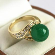 cute lady's 18KGP with crystal decorated &12mm green  jades  ring(#7 8 9 10)