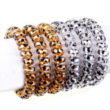 5 pcs Fashion Women Gold/Silver Leopard Elastic Hairbands Scrunchie Telephone Wire Hairbands Ponytail Holder(China)