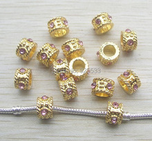 Free shipping 50pcs 12mm gold color alloy pink rhinestone big hole beads fit European DIY bracelet jewelry