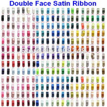 Pick Sizes 6 9 13 16 19 22 25 28 32 38 50 57 63 75 89 100 MM Width 100% polyester solid color Double Face Satin Ribbon