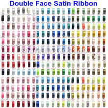 Pick Sizes 6 9 13 16 19 22 25 28 32 38 50 57 63 75 89 100 MM Width 100% polyester solid color Double Face Satin Ribbon(China)
