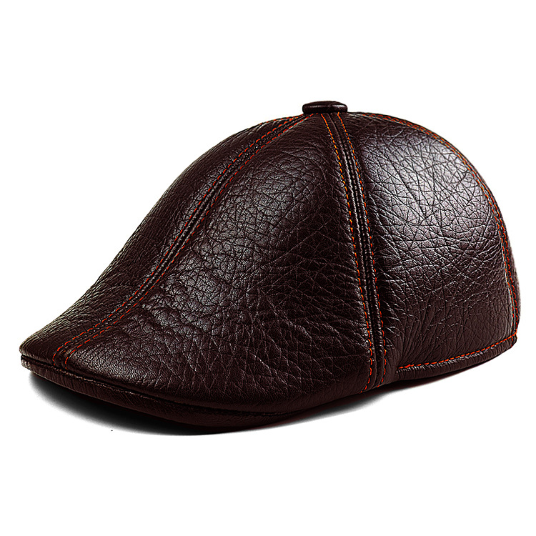 Leather Hat autumn warm winter fashion sheepskin Beret old outdoor windproof gifts<br>