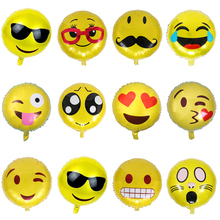 1pc Emoji Yellow Face Balloon Aluminum Foil Balloons for Birthday Party inflatable balls Decoration Anagram Children Gift(China)