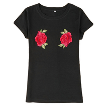 High Quality Summer Embroidery Flowers T shirt Women Short Sleeve O-neck Casual Tops Tees Female Ladies T-Shirt