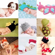 Newborn Animal Photography baby outfit crochet hat newborn outfit Animal Hat Newborn Prop newborn knit hat Children Photo Props(China)