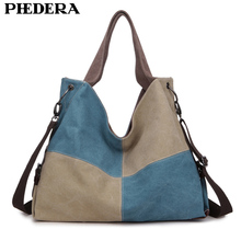 PHEDERA Brand Large Wash Canvas Women Handbag Vintage Patchwork Casual Women Shoulder Bag Big Female Messenger Bags 2017(China)