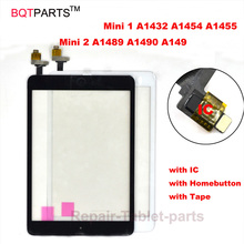 BQTparts For iPad Mini A1432 A1454 A1455 Mini 2 A1489 A1490 A149 Digitizer touch screen glass sensor Panel with ic + home button