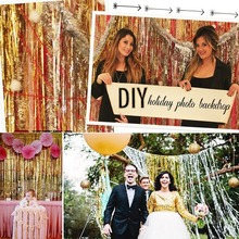 92*245CM shimmering Tinsel Curtain Foil Room Shiny Pub party Stage wedding decoration backdrop Background New Arrival