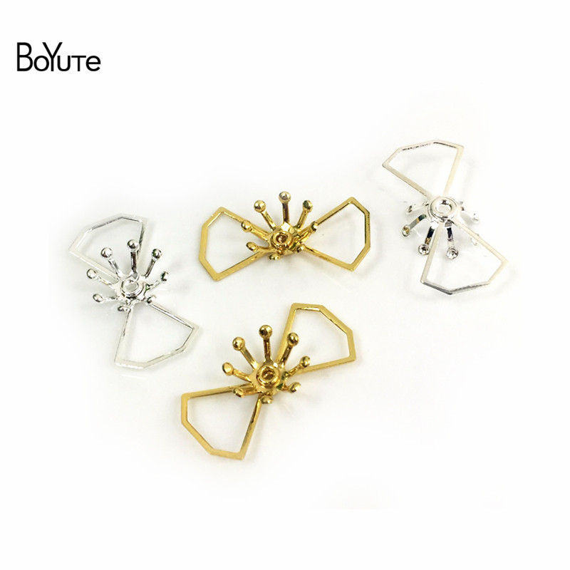BoYuTe 50Pcs Metal Brass Stamping Filigree Flower Accessories Parts for Bridal Hair Jewelry Making (5)