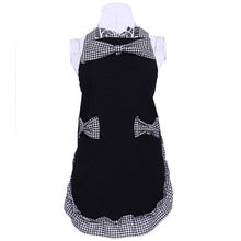 2016 Korean Lovely Women Restaurant Kitchen BowKnot Aprons Cooking Dress Apron with Double Pockets Ladies Birthday Gift