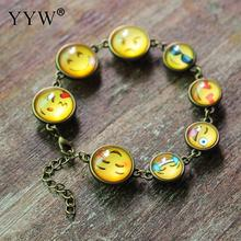New Design Expression Bracelet Children Teens Lovely Emoji For Woman Man funny Jewelry Glass Zinc Alloy Bracelet Free Shipping(China)