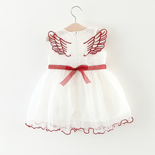 Baby Girls Lace Tulle Dress with Angel Wings Design Summer Newborn Kids White Floral Princess Dresses for Brithday Party Wedding