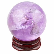 "Natural Purple Amethys t Quartz,Rose Pink Quartz,Calcite,Clear Crystal Gem stone 1.35"" (35mm) Ball Sphere With Stand 1Pcs"