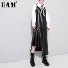 Buy EAM 2018 new spring V-collar black irregular ruffles hem split joint loose PU leather strapless dress women fashion tide JE65 for $20.24 in AliExpress store