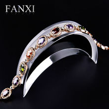FANXI Free shipping custom 6 pcs/lot high transparency acrylic Crescent bracelet or necklace jewellery shop exhibitor stand