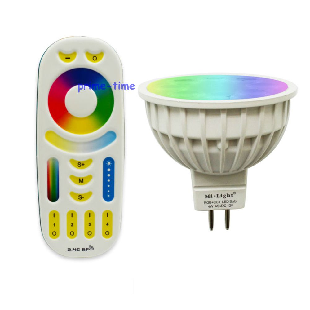 Mi.Light 4W RGB + CCT MR16 LED Bulb Spotlight AC/DC 12V FUT104 +1x WiFi iBox1 Lamp +1x 2.4G Wireless RF 4-Zone Touch Remote<br><br>Aliexpress