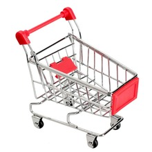 1PCS Recent Supermarket Shopping Mini Trolley Phone Holder Office Desk Storage Toy Cart Baby Toy Handcart Accessories(China)