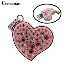 Cupid's heart usb flash Drive Necklace key Pendrive 4gb 8gb 16gb 32gb Christmas Gift 64gb Flash Drive USB 2.0 pendrive girl gift(China)