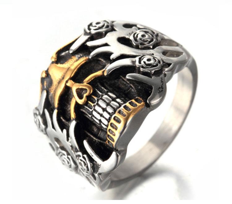แหวนโคตรเท่ห์ Code 003 แหวนกะโหลกดอกไม้ Biker 3